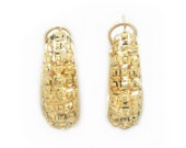 14K Gold Nugget Hoops Fac...