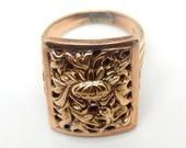 18K Rose Gold Retro Flora...