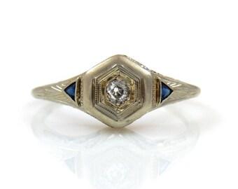18K Art Deco White Gold, Diamond & Sapphire Ring  - X2691