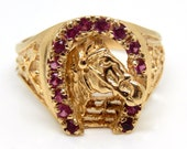 14K Yellow Gold Ruby Hors...