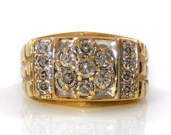 Gold Nugget & Diamond Cluster 10K Vintage Men's Ring  - X4230