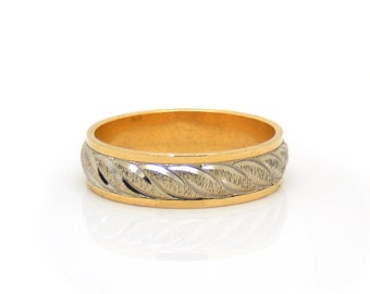 14K Two Tone Rope Vintage Men's Band - X2624
