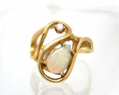 14K Vintage Opal Diamond ...