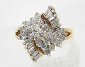 14K Vintage Diamond Clust...