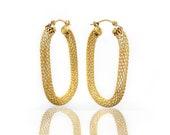 14K Gold Hoop Mesh Design...