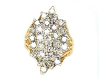 Large 14K Diamond Cluster Ring - X4363