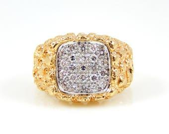 Men's 14K Diamond Encrusted Gold Nugget Ring - X4386