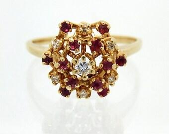 Vintage 18K Ruby Diamond Starburst Ring - X1620
