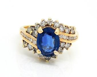 Blue Sapphire & Diamond Ring 14K - X4478