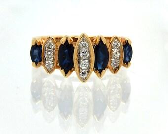 Estate 14K Diamond Sapphire Marquis Ring