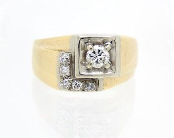 Vintage 14K Two-Tone Deco Diamond Ring - X4550