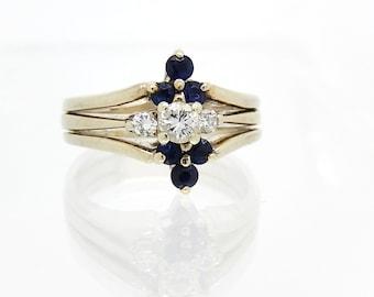 14K Diamond Sapphire Wedding Engagement Ring - X3093