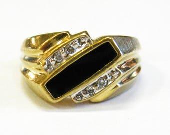 10K Onyx & Diamond Men's Ring - X2719