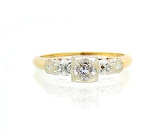 1940s Diamond Engagement Ring 14K - X4474