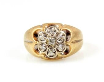10K Gold & Diamond Flower Ring - X2587