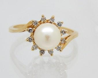 14K Golden Hued Diamond Pearl Estate Ring - X4239
