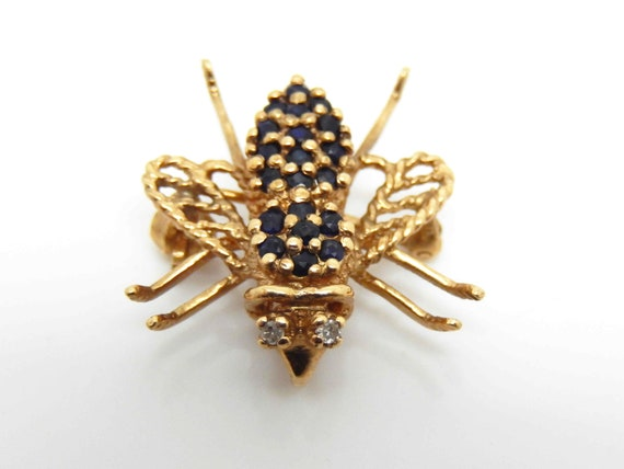 12361e8a4e9ab Vintage 10K Yellow Gold Sapphire Diamond Bee Brooch Pendant - X4754