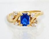 Vintage 14K Sapphire Diam...