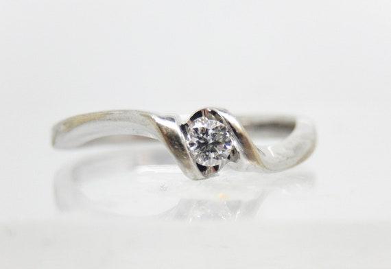 Estate 10K White Gold Diamond Solitaire Ring - X6… - image 2