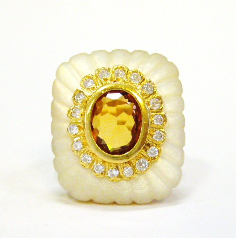 18K Mother of Pearl Diamond & Citrine Cocktail Ring  X4069 image 0