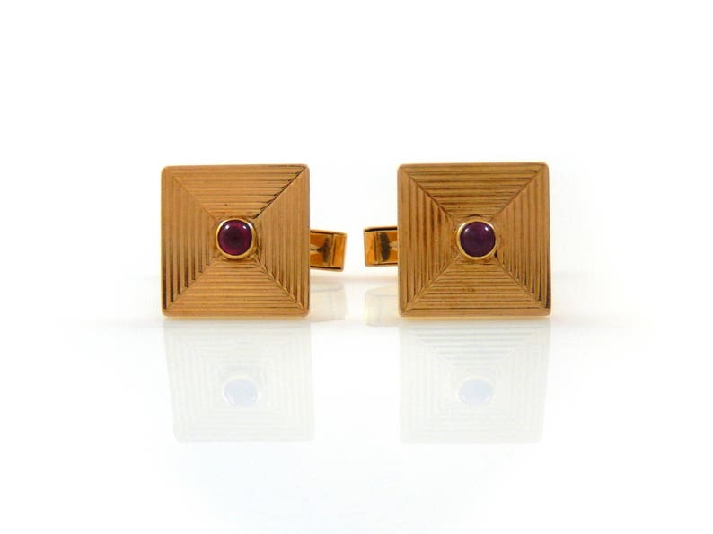 Tiffany & Co. 14K Cuff Links with Ruby Cabochon  X4457 image 0