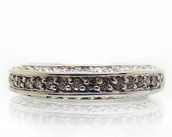 14K White Gold Vintage Pave-Set Diamond Engagement Wedding Band - X4328
