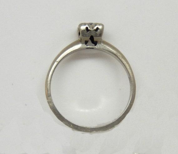 Estate 14K White Gold Diamond Solitaire Ring - X6… - image 8