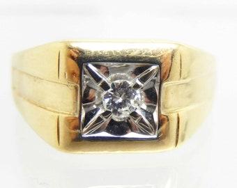 Vintage 14K Yellow and White Gold DIamond Men's Ring - X4930