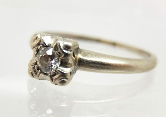 Estate 14K White Gold Diamond Solitaire Ring - X6… - image 3