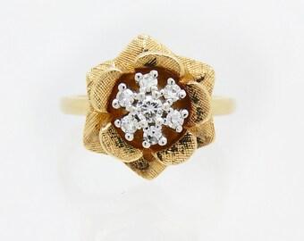 Vintage 14K Yellow Gold Floral Diamond Ring - X4145