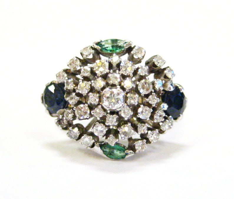 Cluster Cocktail Ring with Diamonds Sapphires Emeralds & 14K image 0