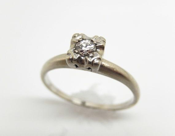 Estate 14K White Gold Diamond Solitaire Ring - X6… - image 1