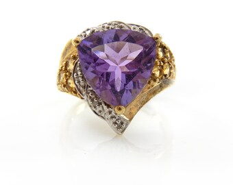 Amethyst, Diamond, & Citrine 10K Ring - X4081