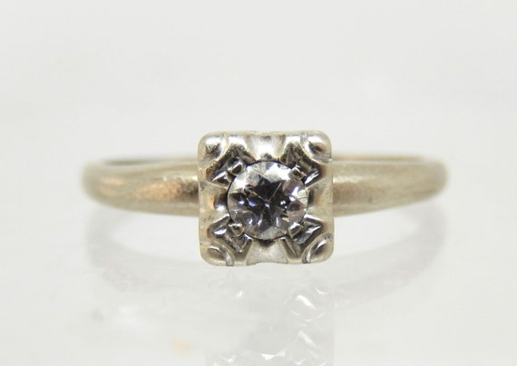 Estate 14K White Gold Diamond Solitaire Ring - X6… - image 2