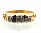10K Vintage Diamond Nugge...