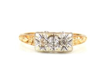 Vintage 14K Two-Diamond Ring - X4337
