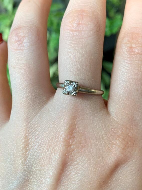 Estate 14K White Gold Diamond Solitaire Ring - X6… - image 10