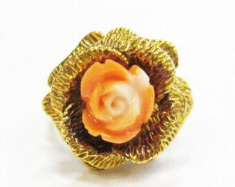 Carved Coral Flower 14K Vintage Ring - X2855
