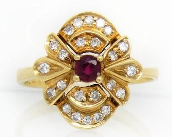 Ruby Diamond 14K Gold Ring - X4516