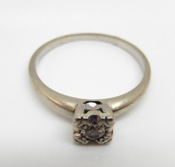Estate 14K White Gold Diamond Solitaire Ring - X6… - image 4