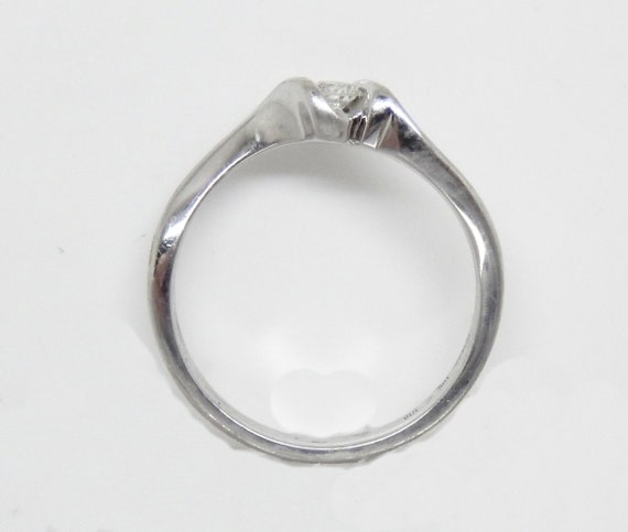 Estate 10K White Gold Diamond Solitaire Ring - X6… - image 7