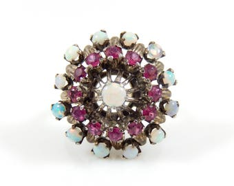18K Ruby & Opal Princess Dome Ring - 4660