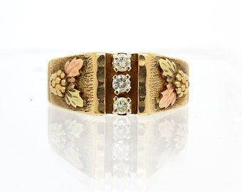 Vintage Gold Diamond Acorn Design 12K Tri Color Ring - X1521