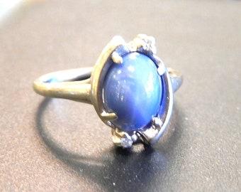 10K Vintage Natural Star Sapphire Diamond Ring - X3207