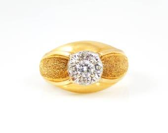 14K Gold and Diamond Cluster Men's Ring - X4238