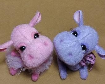 Hippo Teddy, sweet couple. OOAK