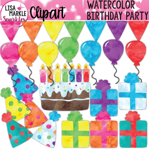 Watercolor Rainbow Birthday Cake Candles Presents Banner