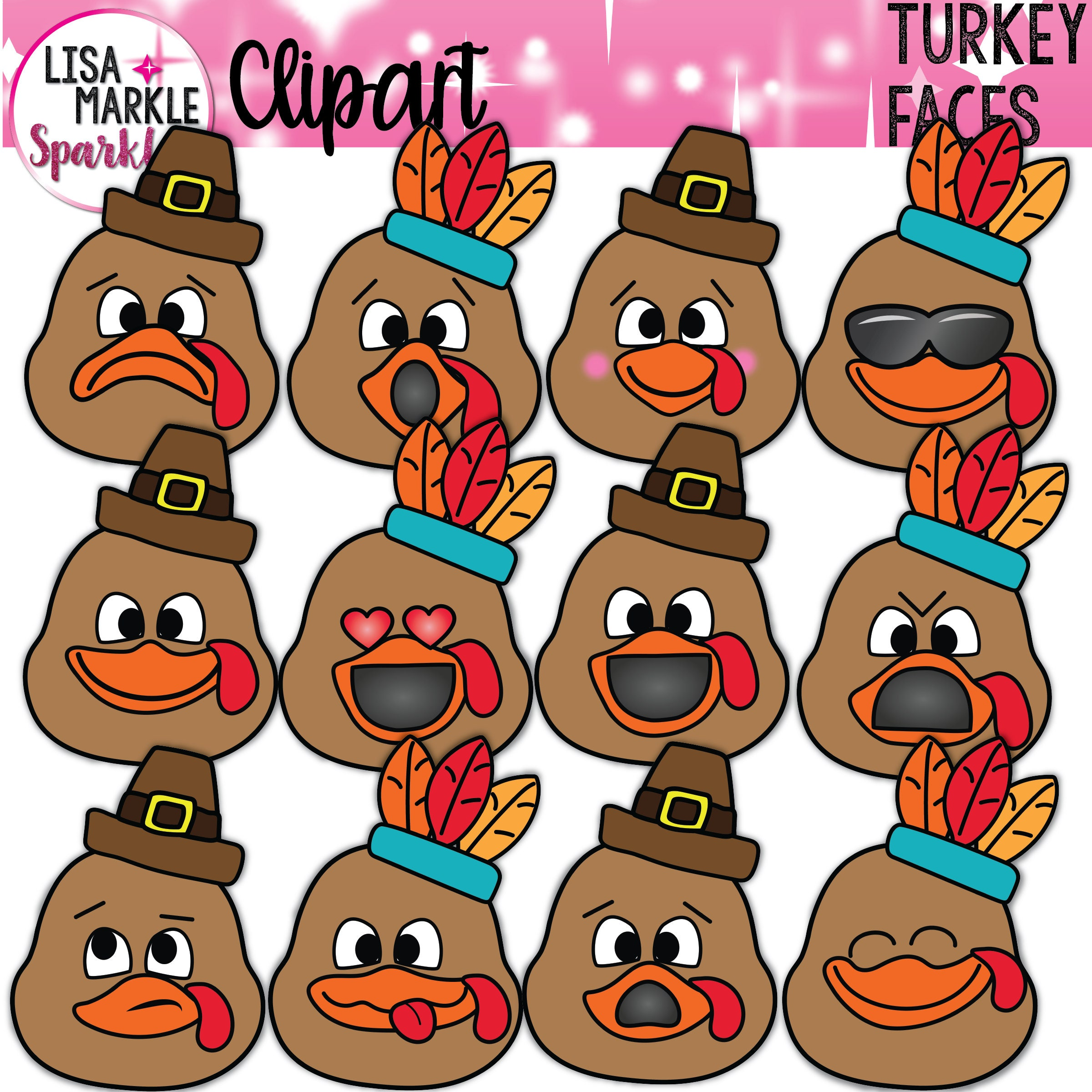 emoji emotion thanksgiving turkey face clipart behavior chart etsy Mixed Girl Drawing 50