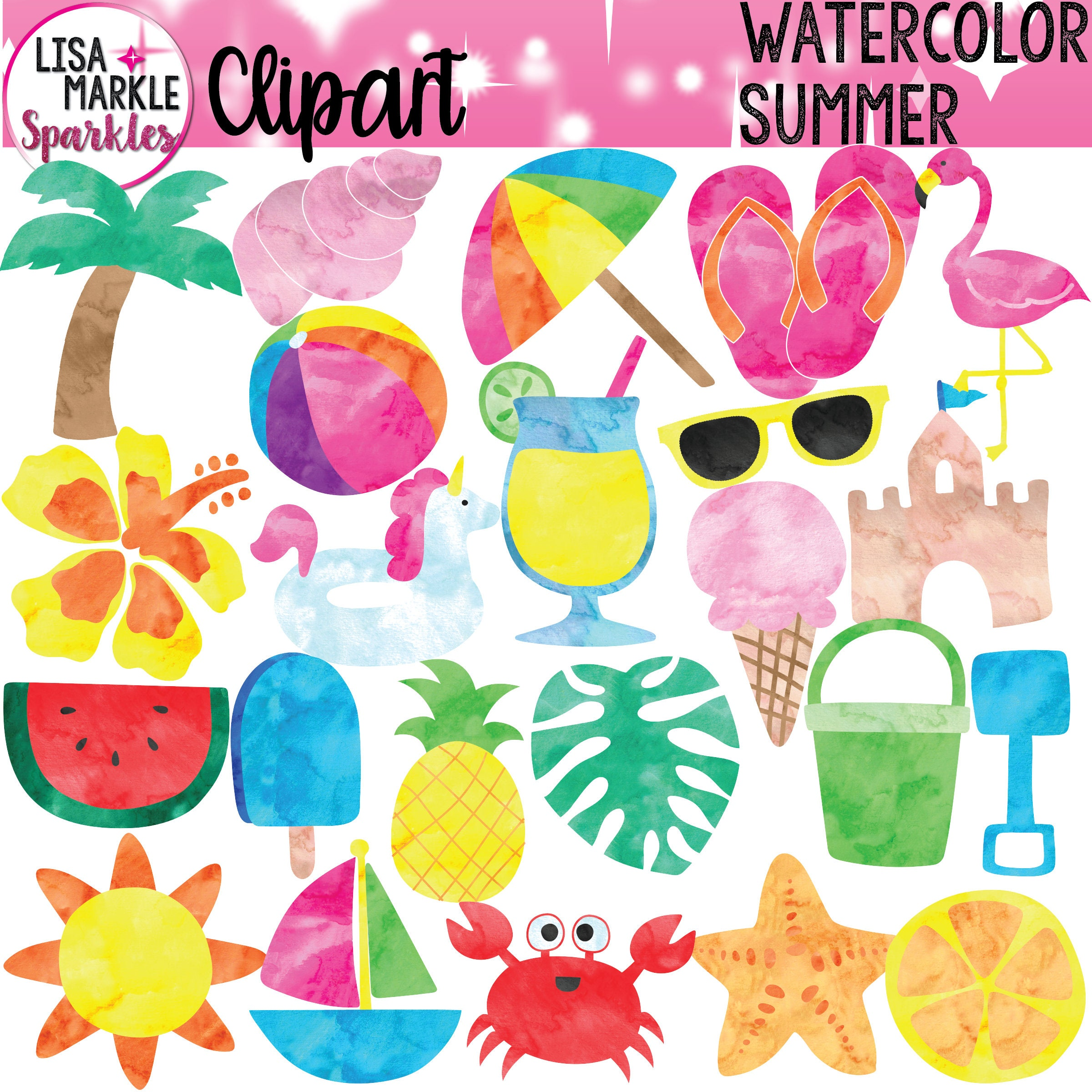 Watercolor Summer Clipart with Tropical Flamingo Flipflops ...