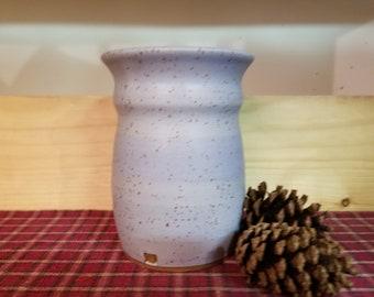Lavender pottery utensil holder